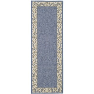 "Safavieh Kaii Damask Blue/ Natural Indoor/ Outdoor Rug (2'2"" x 12')"