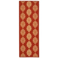 "Safavieh St. Martin Damask Red/ Natural Indoor/ Outdoor Runner Rug (2'2"" x 12') - 2'2 x 12'"