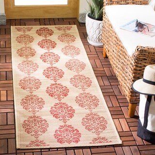 Safavieh St. Martin Damask Natural/ Red Indoor/ Outdoor Rug - 2'2 X 12'
