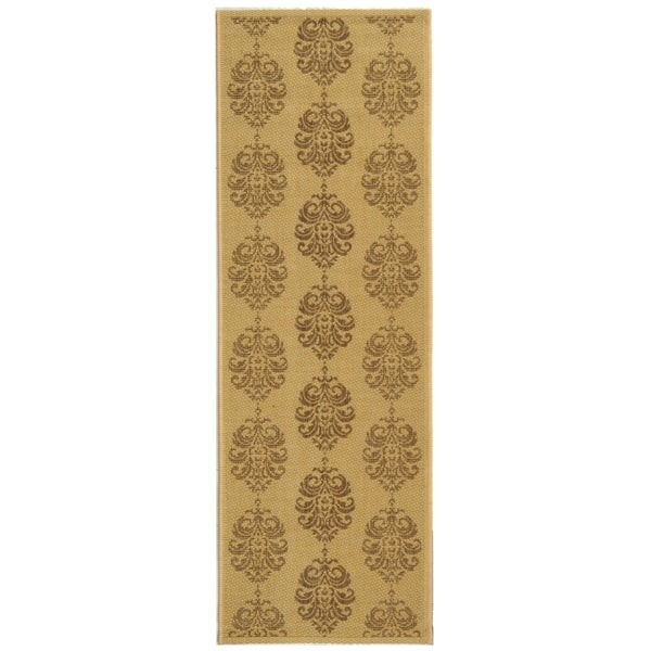 Safavieh St. Martin Damask Natural/ Brown Indoor/ Outdoor Rug (2'4 x 9'11)