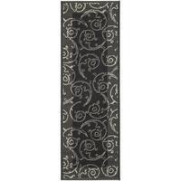 Safavieh Oasis Scrollwork Black/ Sand Indoor/ Outdoor Rug - 2'2 x 14'