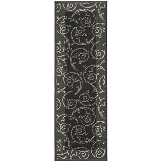 "Safavieh Oasis Scrollwork Black/ Grey Indoor/ Outdoor Rug (2'2"" x 12')"