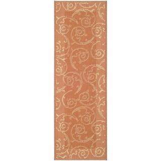 Safavieh Oasis Scrollwork Terracotta/ Natural Indoor/ Outdoor Rug (2'2 x 14')