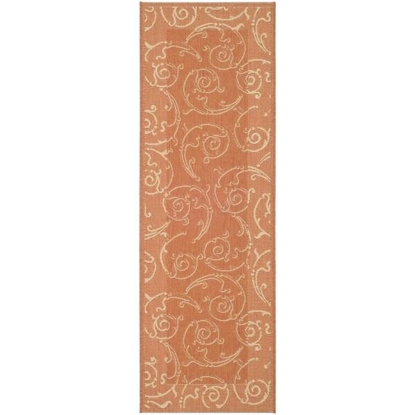 Safavieh Oasis Scrollwork Terracotta/ Natural Indoor/ Outdoor Rug (2'2 x 12')