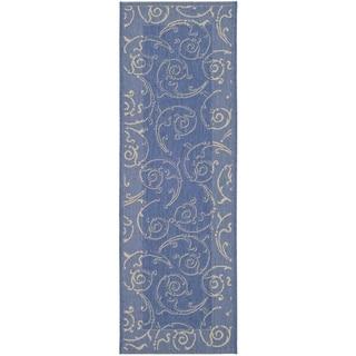 Safavieh Oasis Scrollwork Blue/ Natural Indoor/ Outdoor Runner (2'2 x 14')