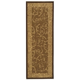 Safavieh Oasis Scrollwork Brown/ Natural Indoor/ Outdoor Rug (2'2 x 14')