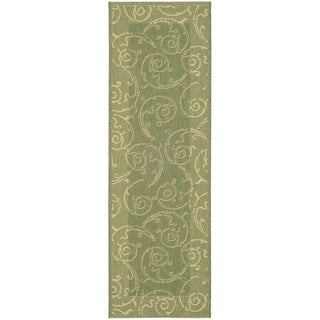 Safavieh Olive/ Natural Indoor/ Outdoor Border Rug (2'2 x 12')