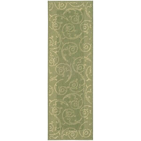 Safavieh Oasis Scrollwork Olive Green/ Natural Indoor/ Outdoor Rug (2'2 x 12')