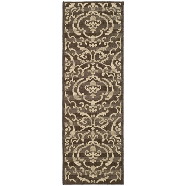 Safavieh Bimini Damask Chocolate/ Natural Indoor/ Outdoor Rug (2'2 x 14')