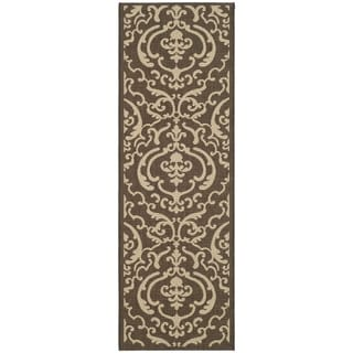 Safavieh Chocolate/ Natural Indoor Outdoor Runner Rug (2'2 x 12')