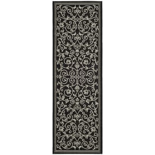 Safavieh Resorts Scrollwork Black/ Sand Indoor/ Outdoor Rug (2'2 x 14')