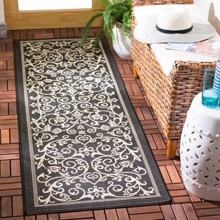 Safavieh Resorts Scrollwork Black/ Sand Indoor/ Outdoor Rug (2'2 x 12')