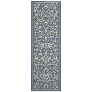 "Safavieh Resorts Scrollwork Blue/ Natural Indoor/ Outdoor Rug (2'2"" x 14')"
