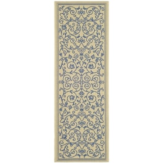 Safavieh Resorts Scrollwork Natural/ Blue Indoor/ Outdoor Rug (2'3 x 12')