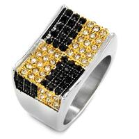 Stainless Steel Cubic Zirconia Two-tone Checkerboard Ring