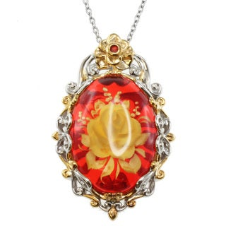 Michael Valitutti Two-Tone Carved Amber Pendant