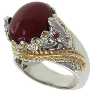 Michael Valitutti Two-Tone Red Jade and Ruby Ring
