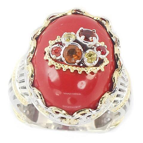 Michael Valitutti Palladium Silver Red Coral, Fire Citrine & Sapphire Ring