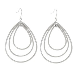 NEXTE Jewelry Silvertone Four Teardrops Dangle Hoop Earrings