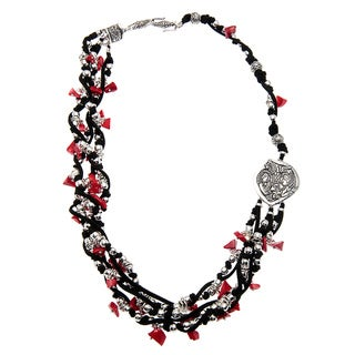 Charm Black and Red Multi-strand Coral Necklace (Guatemala)