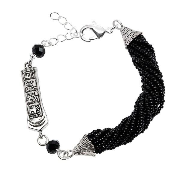 Black Twisted Beads and Symbols Bracelet (Guatemala)