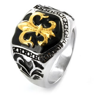 West Coast Jewelry Stainless Steel Golden Fleur De Lis Shield Ring