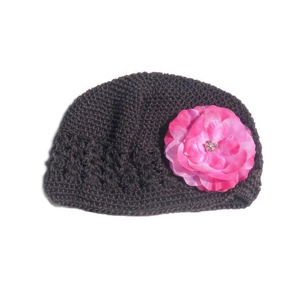 Boutique Dark Brown Crochet Flower Hat