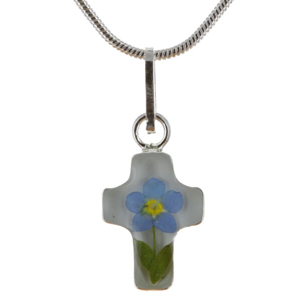 Sterling Silver Forgetmenot Pressed Flower Cross Necklace (Mexico)