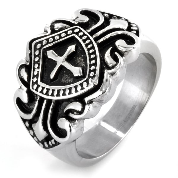 West Coast Jewelry Stainless Steel Royal Cross Shield Ring