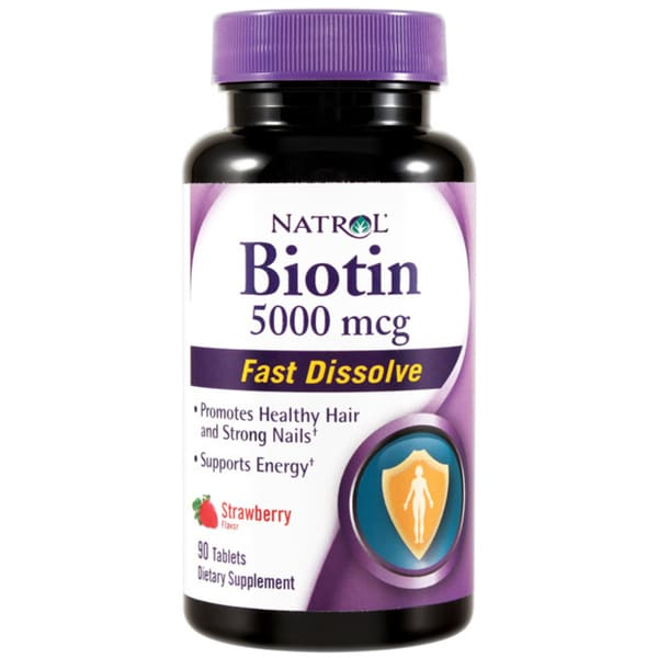 Natrol Biotin 5000mcg Strawberry Flavor Fast Dissolve Tablets (90 count)