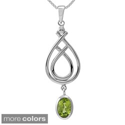 Sterling Silver Oval Cut Natural Peridot/Moonstone Modern Celtic Knot Pendant (Thailand)