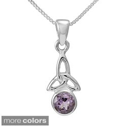 Handmade Sterling Silver Round Cut Natural Amethyst/Moonstone Celtic Knot Pendant(Thailand)