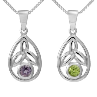 Handmade Sterling Silver Round Cut Natural Peridot/Amethyst Stone Celtic Knot Pendant (Thailand)