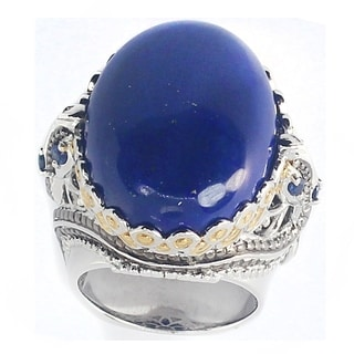 Michael Valitutti Sterling Silver Lapis Two-Tone Ring