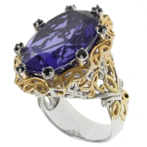 Michael Valitutti Sterling Silver Tanzanite Quartz Two-Tone Ring