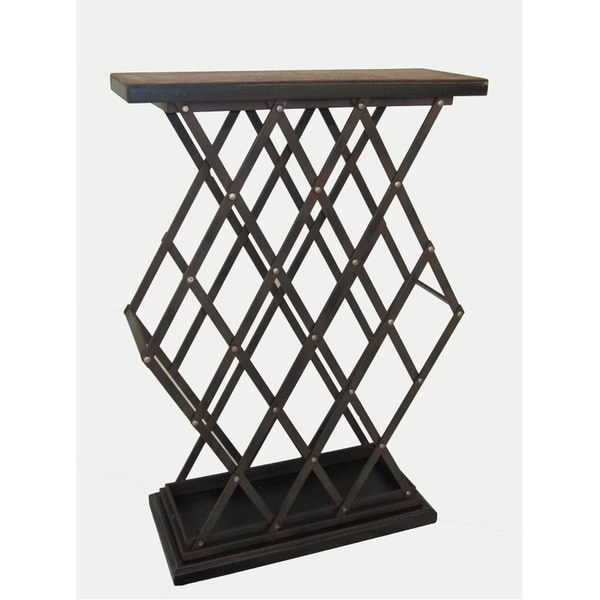 Catarina Warm Brown Wine Rack Table