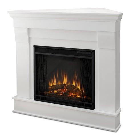 Chateau White Electric Corner Fireplace by Real Flame