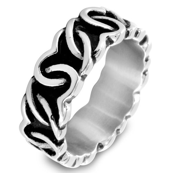 West Coast Jewelry Stainless Steel Continuous Interlocking Heart Ring