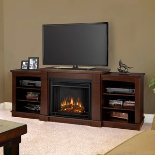 Real Flame Hawthorne Dark Espresso Entertainment Center Electric 74.9-inch Fireplace