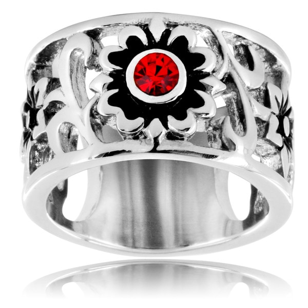 Stainless Steel Triple Flower Red Cubic Zirconia Ring