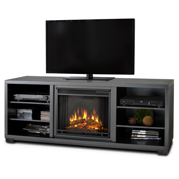 Real Flame Marco Black Mantel Electric Fireplace