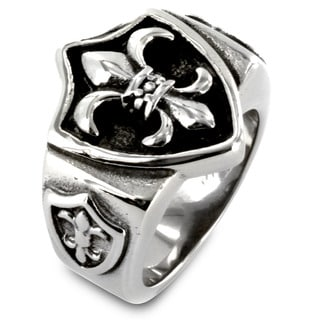 West Coast Jewelry Stainless Steel Triple Fleur De Lis and Shield Ring