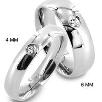 Stainless Steel Single Cubic Zirconia Classic Domed Band Ring - Silver