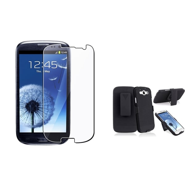 INSTEN Phone Case Cover With Holster/ Screen Protector for Samsung Galaxy S III/ S3