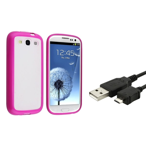 BasAcc Clear/ Hot Pink Case/ USB Cable for Samsung Galaxy S3/ S III