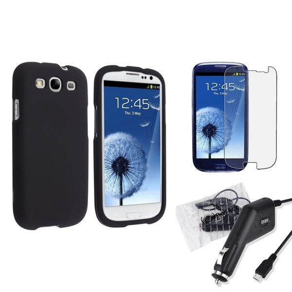 INSTEN Black Phone Case Cover/ Charger/ LCD Protector for Samsung Galaxy S III/ S3