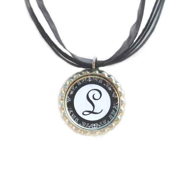 Damask Monogram Bottle Cap Necklace