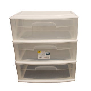 Homz Large White 3-drawer Cart