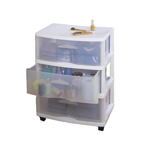 Homz Large Three Drawer Storage Cart, White (Plastic)