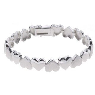 Mondevio Sterling Silver Heart Links Bracelet